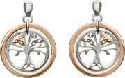 House Of Lor , Silver Rose Gold Tree Of Life Earrings H-30017