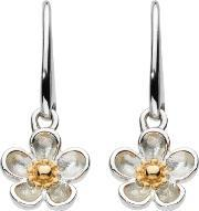 Kit Heath , Silver Gold Plated Wood Rose Drop Earrings 50305gd012