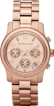 Michael Kors , Rose Gold Plated Chronograph Dial Rose Gold Plated Bracelet Watch Mk5128
