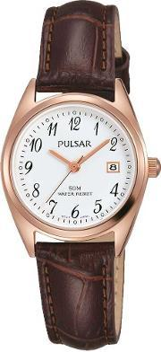 Pulsar , Ladies Rose Gold Plated Classic Strap Watch Ph7448x1