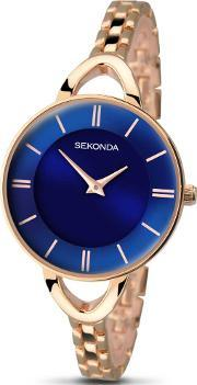 Sekonda , Ladies Blue Dial Rose Gold Plated Bracelet Watch 2284