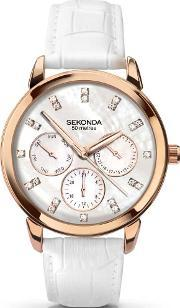 Sekonda , Ladies Rose Gold Plated White Strap Watch 2285