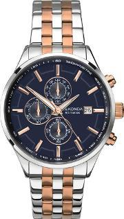 Sekonda , Mens Velocity Two Tone Rose Gold Plated Silver Chronograph Bracelet Watch 1107