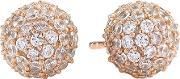 Sif Jakobs , Ladies Rose Gold-plated 'bobbio' Round White Pave Earrings Sj-e2104-cz(rg)