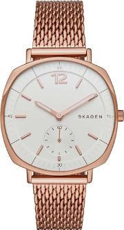 Skagen , Ladies Rungsted Rose Gold Plated Bracelet Watch Skw2401