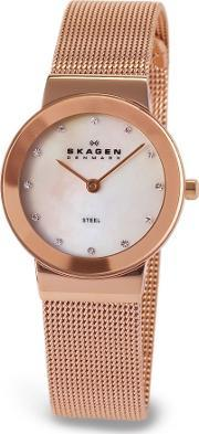 Skagen , Rose Gold Plated Mesh Mother Of Pearl Stone Watch 358srrd