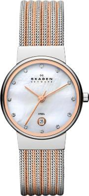 Skagen , Steel Rose Gold Plated Mesh Mother Of Pearl Stone Dial Watch 355ssrs