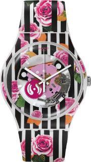 Swatch , Ladies Rose Explosion Strap Watch Suow110