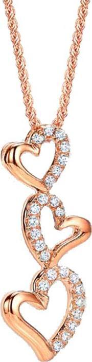 The Real Effect , Ladies Rose Gold Plated Cubic Zirconia Open Hearts Pendant Re30814