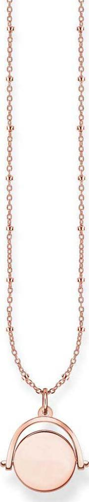 Thomas Sabo , Ladies Rose Gold Plated Double Chain Disc Necklace Lbke0003-415-12-l45v