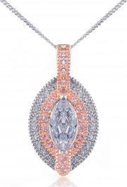 V Jewellery , Silver Rose Gold Plated Rose Marquise Cz Pendant 3050