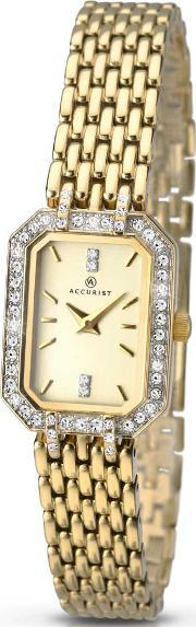 Accurist , Ladies Gold Plated Bracelet Watch 8062