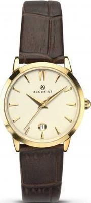 Accurist , Ladies Gold Plated Brown Strap Watch 8133