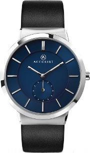 Accurist , Mens Blue Dial Black Leather Strap Watch 7100