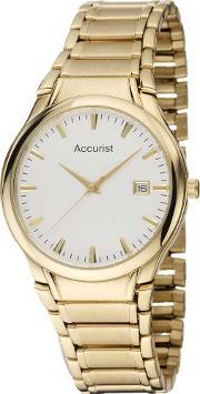 Accurist , Mens Gold Plated Bracelet Watch Mb864w