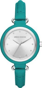 Armani Exchange , Ladies Blue Silver Stone Dial Leather Strap Watch Ax4234