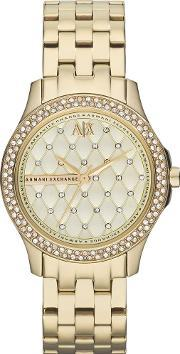 Armani Exchange , Ladies Gold Plated Quilted Stone Dial Bezel Bracelet Watch Ax5216