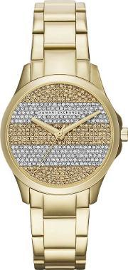 Armani Exchange , Ladies Gold Plated Stone Dial Bracelet Watch Ax5242