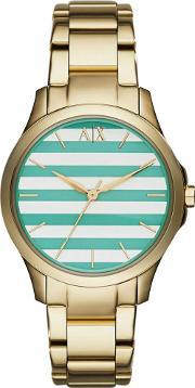 Armani Exchange , Ladies Gold Plated Striped Dial Bracelet Watch Ax5233
