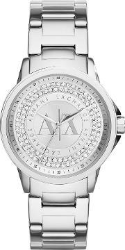 Armani Exchange , Ladies Silver Stone Dial Bracelet Watch Ax4320