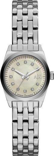 Armani Exchange , Ladies Silver Stone Dial Bracelet Watch Ax5330