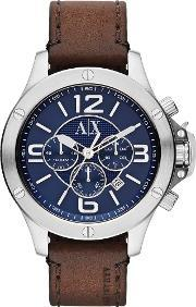 Armani Exchange , Mens Blue Dial Chronograph Brown Leather Strap Watch Ax1505