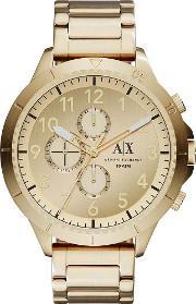 Armani Exchange , Mens Gold Plated Chronograph Bracelet Watch Ax1752
