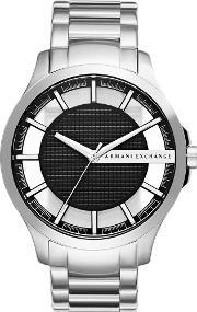 Armani Exchange , Mens Silver Black Dial Bracelet Watch Ax2179