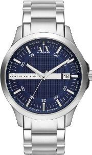 Armani Exchange , Mens Silver Blue Dial Bracelet Watch Ax2132