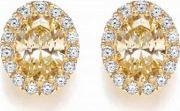 Bouton , Silver Oval Yellow Cubic Zirconia Stud Earrings Be068