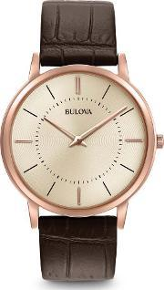 Bulova , Mens Classic Brown Leather Watch 97a126