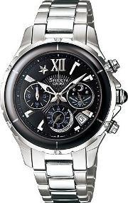 Casio , Steel Chronograph Round Black Dial With Date Watch She-5512d-1adf