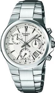 Casio , Steel Chronograph Round White Dial With Date Watch She-5019d-7aef