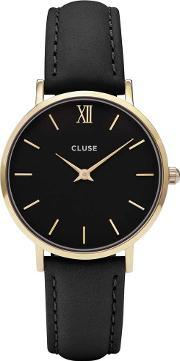 Cluse , Minuit Gold Plated Black Strap Watch Cl30004