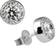 Diamonfire , Silver Clear Cz Round Cluster Earrings 62-1467-1-082