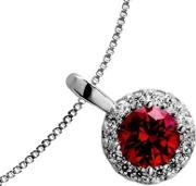 Diamonfire , Silver Clear Red Cubic Zirconia Cluster Pendant 65-1270-1-088