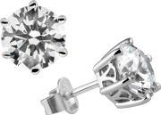 Diamonfire , Silver Cz Round 6 Claw Stud Earrings 62-1011-1-082