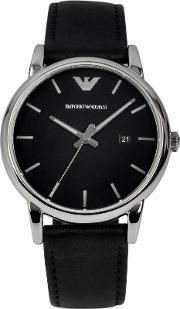 Emporio Armani , Gents Stainless Steel Round Black Dial Black Leather Strap Watch Ar1692