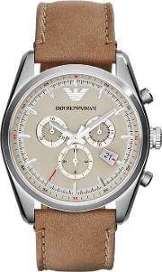 Emporio Armani , Stainless Steel Chronograph Brown Strap Watch Ar6040