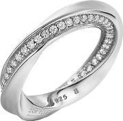Esprit , Sterling Silver Cubic Zirconia Twisted Band Ring Elrg91962a180
