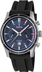 Festina , Mens Racing 15 Stainless Steel Black Rubber Strap Watch F16874g