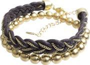 Fiorelli Costume , 2x Gold Plated Beads And Woven Brown Bracelet B4047