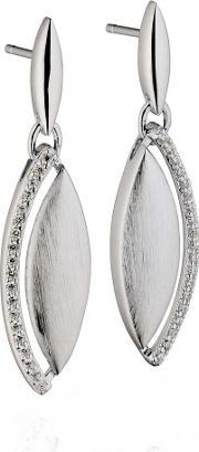 Fiorelli , Ladies Sterling Silver Cubic Zirconia Marquise Dropper Earrings E5185c