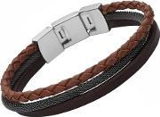Fossil , Ladies Casual- Brown Triple Leather Bracelet Jf02213040