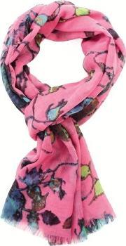 Fraas , Polyester Pink Multi Coloured Floral Scarf 625104-450