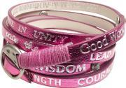 Good Works , Rainbow Crystal Pink Leather Bracelet Hwacs3055 Pink