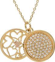 House Of Lor , Silver Gold Plated Cubic Zirconia Disc Pendant H-40013