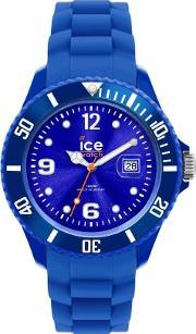 Icewatch , Ice-watch Steel Blue Rubber Strap Blue Dial Watch Si.be.b.s.12
