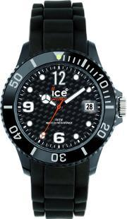 Icewatch , Ice-watch Unisex Black Rubber Strap Black Dial With Date Watch Si.bk.u.s.12