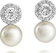 Jersey Pearl , Freshwater Pearl Cubic Zirconia Halo Earrings Ame5